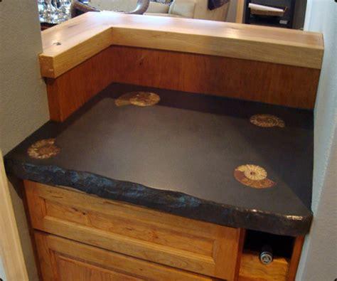 Rock Kitchen Backsplash by Concrete Countertop With Fossils 171 Concrete Pete