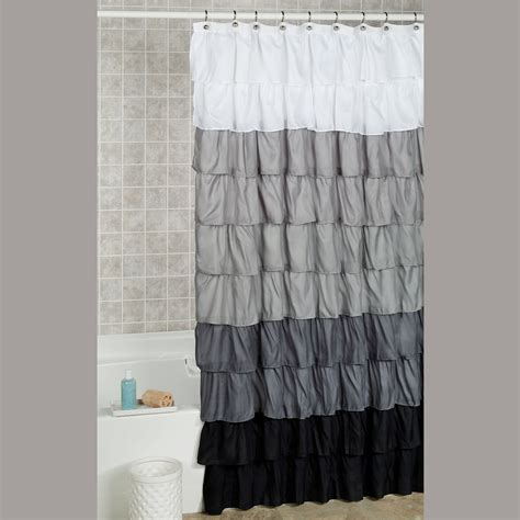 ruffles shower curtain maribella charcoal ombre ruffled shower curtain