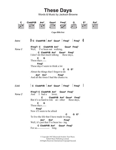 days are chords these days sheet by jackson browne lyrics chords