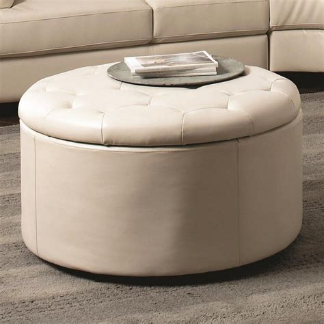Tufted Ottoman With Shelf Tufted Leather Ottoman Coffee Table With Optional Storage Shelf And White Leather Cover On Gray