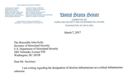 Request Letter Format For Change Of Designation Mccaskill Letter To Dhs Seeks Answers On Elections Critical Infrastructure Designation