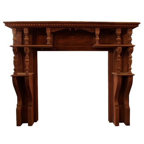 amazing antique walnut fireplace mantel late 1800 s