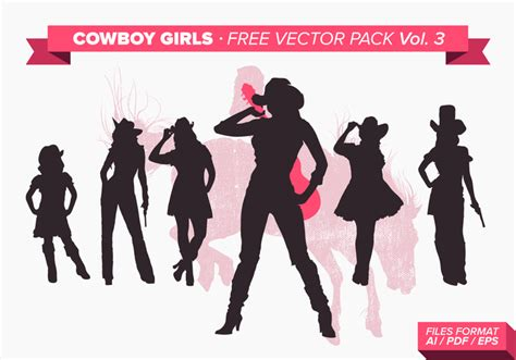 cowgirl silhouette vector free download two beautiful cowboy girls silhouette free vector pack vol 3 download