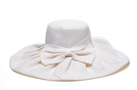 womens white bow wide brim sun hats wholesale