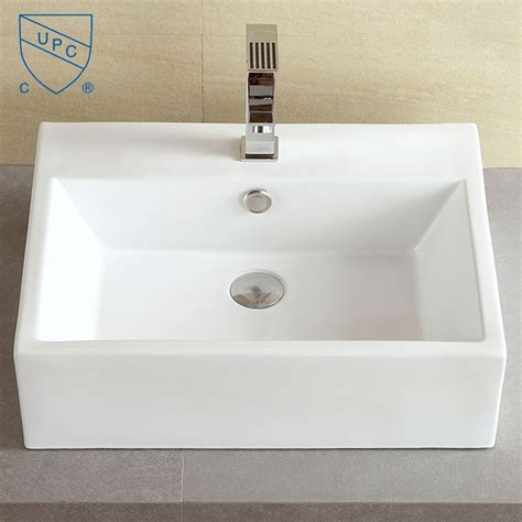 Above Vanity Sinks by Decoraport White Rectangle Ceramic Above Counter Basin