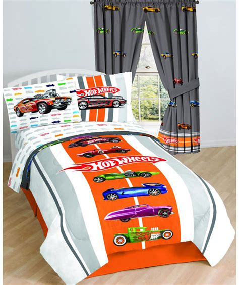 4pc Hot Wheels Full Bed Sheet Set Vintage Hot Rod Muscle Wheels Bedding