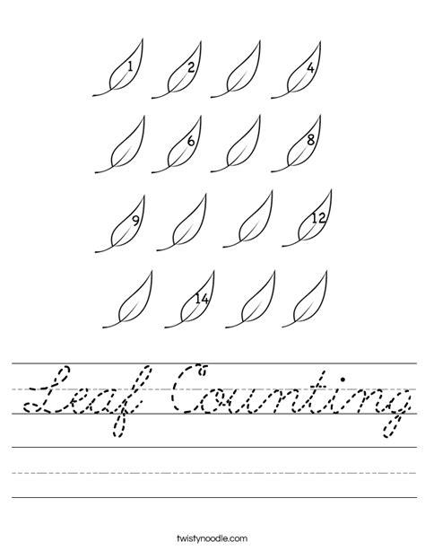 Leaves Worksheet by Leaf Counting Worksheet Cursive Twisty Noodle