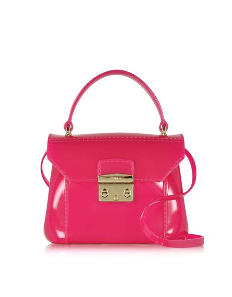 Furla An furla gloss bon bon mini crossbody in pink gold lyst
