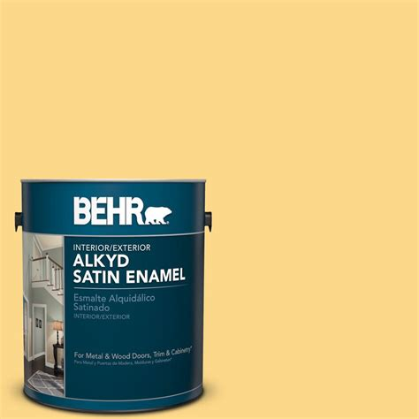 home depot behr paint yellow behr 1 gal p280 4 surfboard yellow satin enamel alkyd