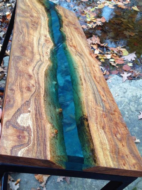 clear epoxy resin table top blue resin river table by marleywoodworking on etsy
