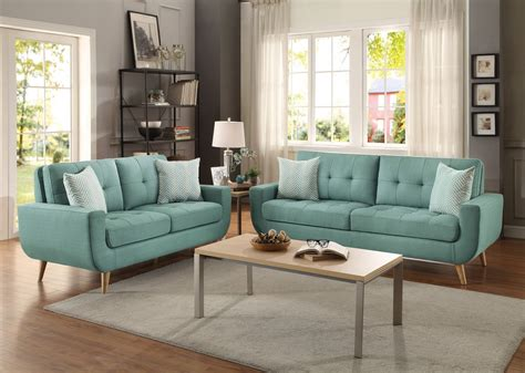 homelegance deryn sofa set polyester teal 8327tl sofa