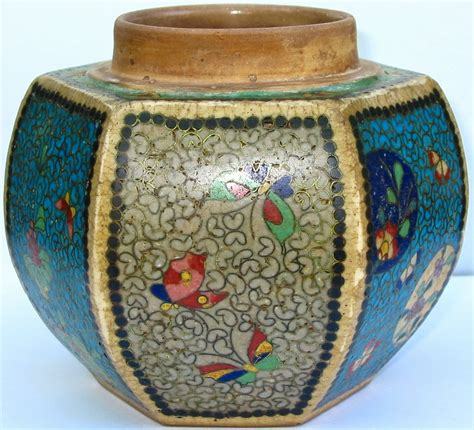 Ginger Jar Vase by Lauragarnet Cloisonne On Porcelain Japanese Totai Ginger