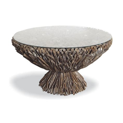 Driftwood And Glass Round Coffee Table Shropshire Design Driftwood Glass Coffee Table