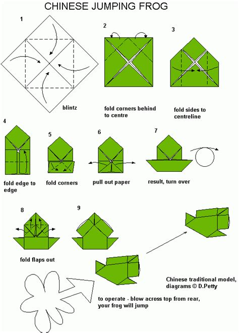Learn Origami Make A Paper Frog - 42 jumping frog
