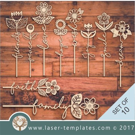 Laser Cut Wood Box Template by Laser Cut Word Flower Templates Store Free Vector