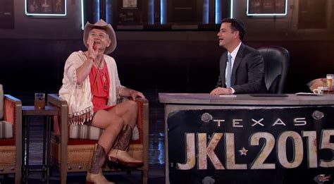 jane fondashaghaircut 2015 jimmy kimmel show bill murray wears a dress arrives on horseback for quot jimmy