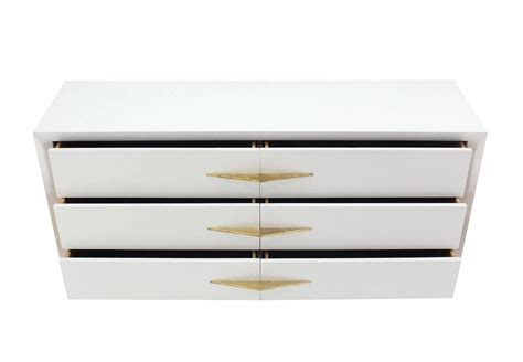 White Lacquer Dresser by Deco White Lacquer Dresser With Brass Pulls At 1stdibs
