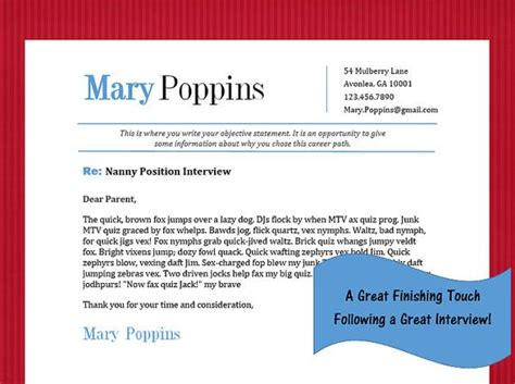 thank you letter after nanny position nanny thank you note template poppins