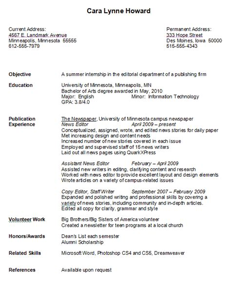 Format For College Resume by Sle College Student Resume Exles