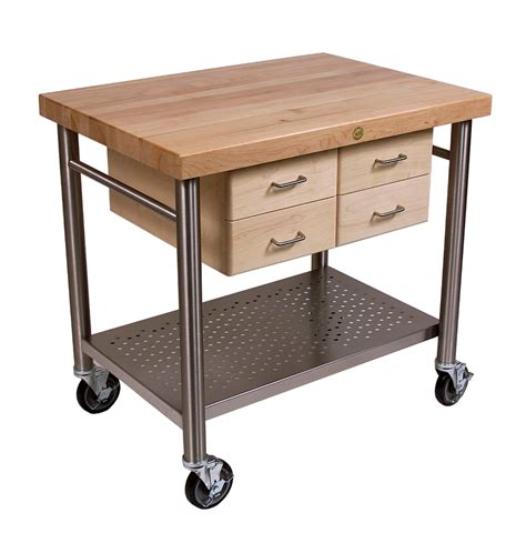 boos cucina veneto wood steel kitchen cart
