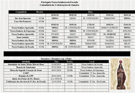 calendario 2016 escala calend 225 rio de celebra 231 245 es do m 234 s de janeiro de 2016