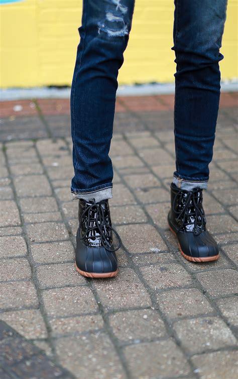 navy black duck boots the miller affect