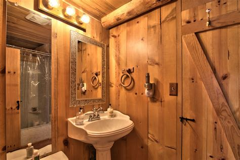 log bathroom lake tahoe log cabin small house bliss