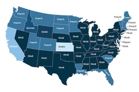 usa second language map the most common second languages spoken by doctors