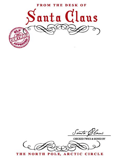 santa letterhead template 7 best images of printable santa letterhead free templates