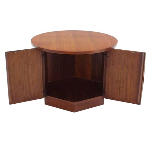 hexagon storage base top walnut side table at 1stdibs