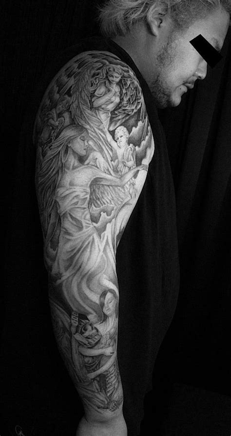 black and gray tattoo goddess tattoo full sleeve tattoo