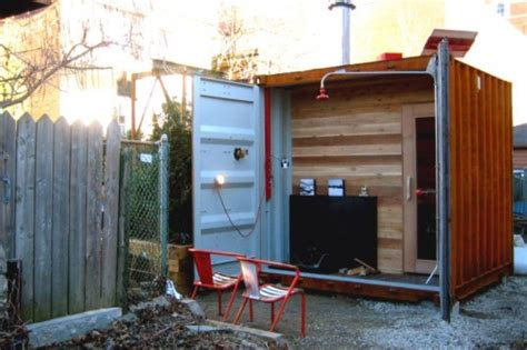 sufficient shipping container sauna box    hot steamy inhabitat green