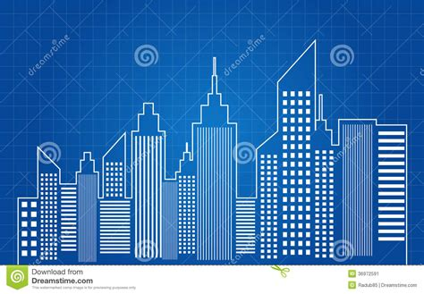 build a blueprint city skyscrapers skyline blueprint stock image image