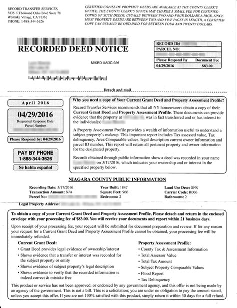 Niagara County Property Records Niagara County Clerk Warns Against Pricey Deed Scam