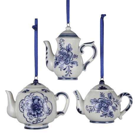 christmas ornaments delft blue and white kurt adler 2 3 quot porcelain delft blue teapot ornament set of 3 ebay