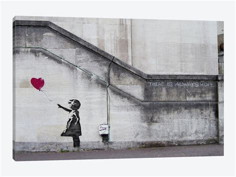 Black And White Art For Bathroom - there is always hope balloon canvas print by banksy icanvas