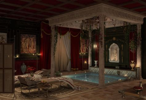 3D visualization Recreation roman bath in style Antique