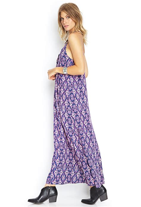 Dress Salur V Ikat Back Jolly lyst forever 21 ikat y back maxi dress in blue
