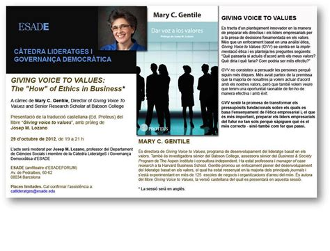 Esade Mba Calendar by Presentaci 243 Llibre Quot Giving Voice To Values The How Of