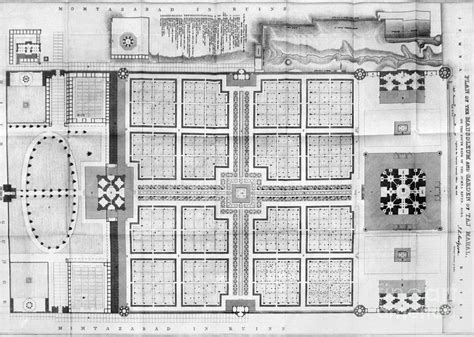 taj mahal floor plan india taj mahal plan photograph by granger