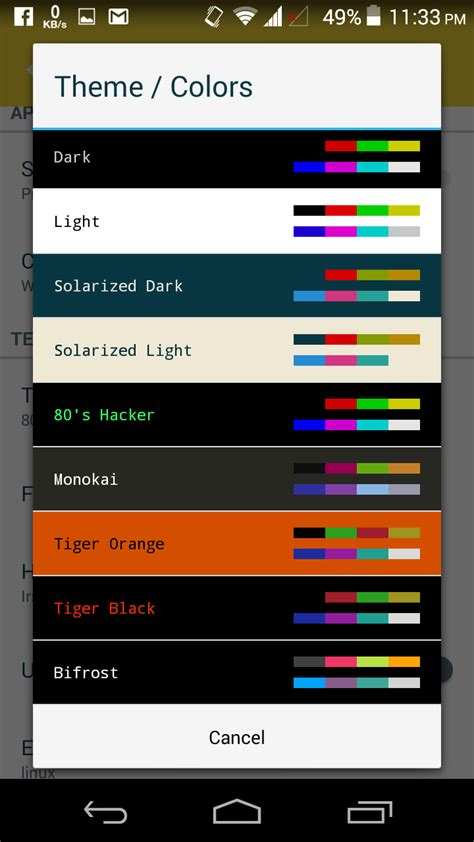 color themes for android best android ssh client juicessh mgeeky