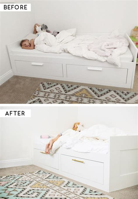 Brimnes Daybed Hack | ikea hack adding brass pulls to the brimnes bed diy