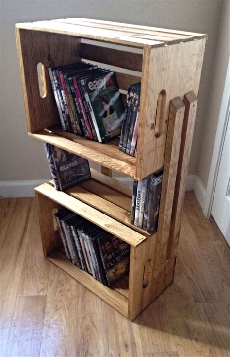 sale light brown wooden crate 3 shelf bookcase shelving
