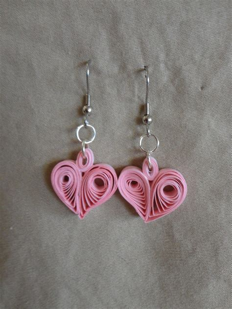Paper Quilling Earrings - pink earrings in quilled paper