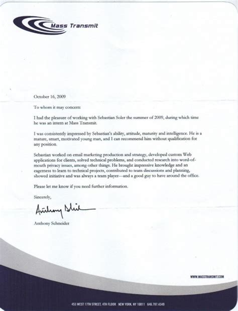 Recommendation Letter Format For Internship how to write letter of recommendation sle letters