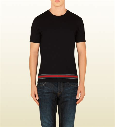 Tshirt Kaos For Gucci Black lyst gucci cotton jersey t shirt with web stripe in black for
