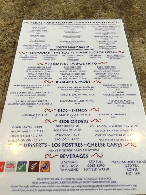 golden seafood house houston tx back of menu yelp