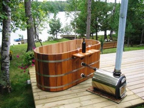 Propane Heated Outdoor Shower - small tubs 2 person tub two person tub