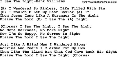 Song I Saw The Light by Country I Saw The Light Hank Williams Lyrics And Chords