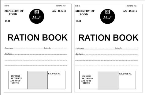 rationing book template world war and book on